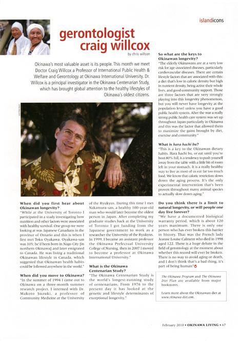Gerontologist Craig Willcox in February 2010 Okinawa Living Magazine