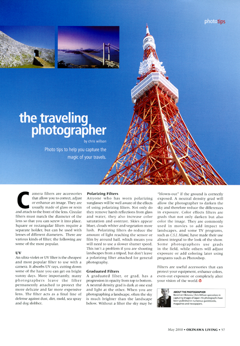 The Traveling Photographer #9 by Chris Willson Okinawa Living Magazine May 2010