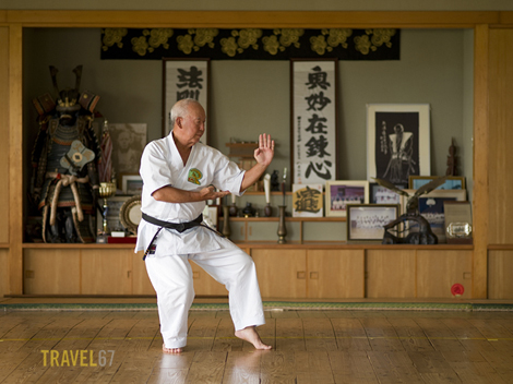 9th dan Gojuryu Karate Master Shigetoshi Senaha at his dojo in Tomigusku City, Okinawa.