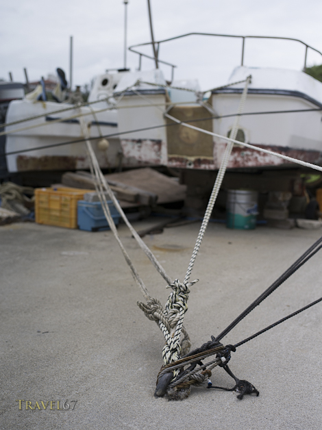Typhoon Bolaven - Secured boats on Hamahiga Island