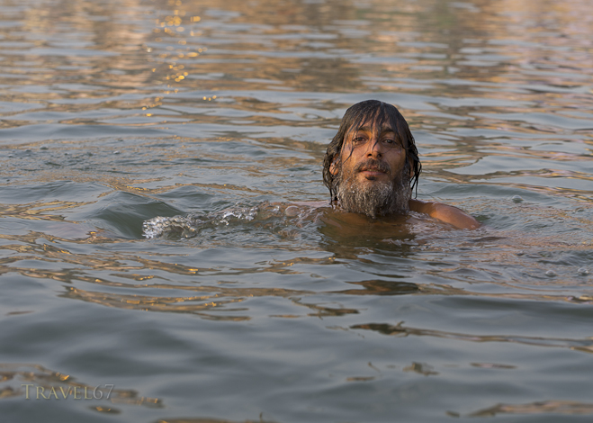 Bathing in the Ganges at Dawn