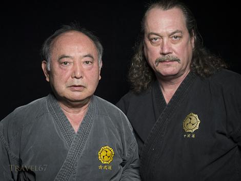 Yoshiaki Gakiya Sensei and Neil Stolsmark 8th-dan, Matayoshi Kobudo. Okinawa Kobudo Doushi Rensei-kai