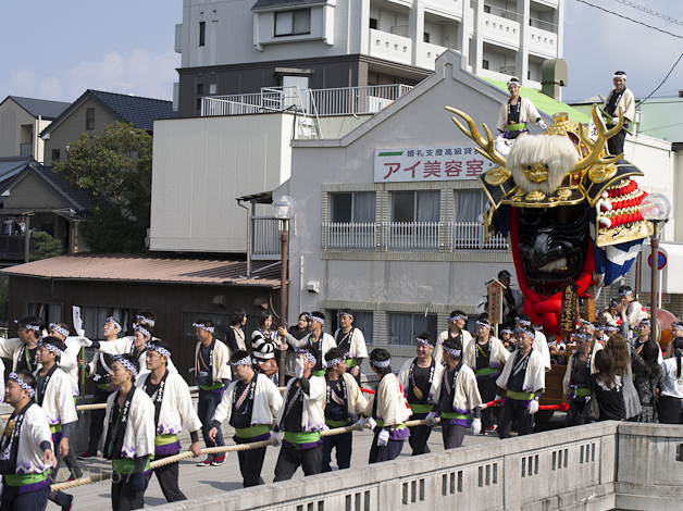 Widow & The Warrior Helmet of Shingen Takeda Float, Karatsu Kunchi Festival, Karatsu City, Saga Prefecture, Japan