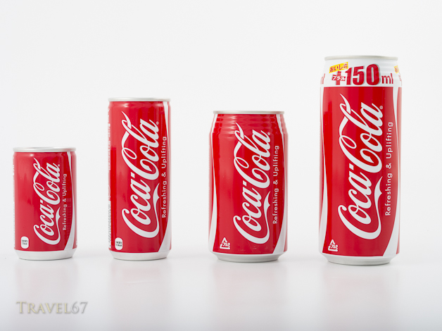 Coca-Cola Can Sizes in Japan 160ml 250ml 350ml 500ml
