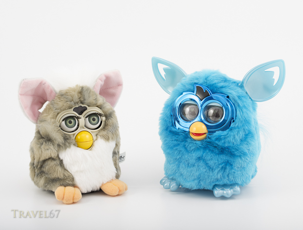 1998 and 2013 Furby electronic robotic toys by Tiger Electronics