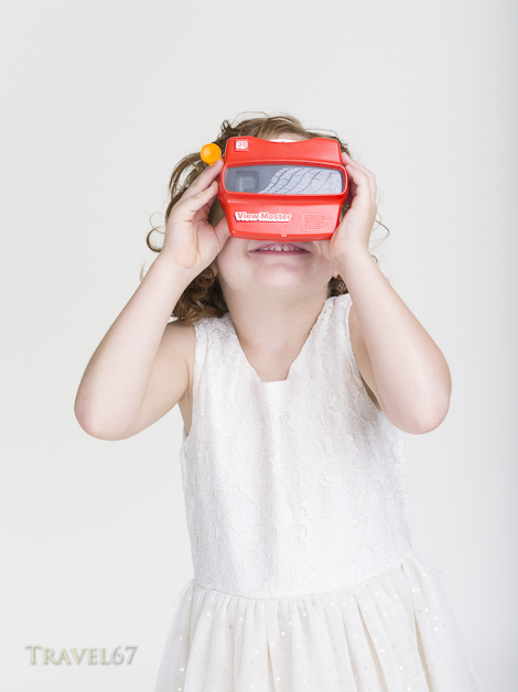 Young girl with View-Master stereoscopic 3-D 3D viewer