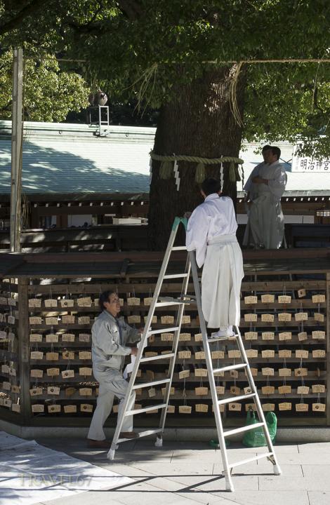 Meiji Shrine, Tokyo, Japan. Preparations for the New Year Celebrations