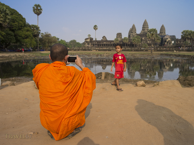 Nheam the Cambodian Monk with his adopted son at Angkor Wat