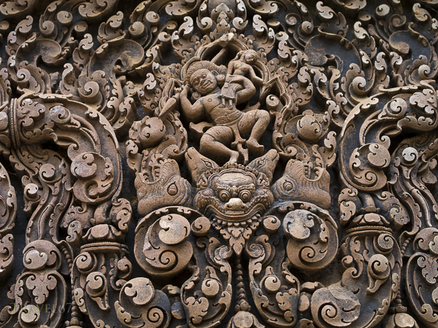 Abduction of Sita (western lintel, central shrine) Banteay Srei Hindu Temple dedicated to Shiva. Siem Reap, Cambodia