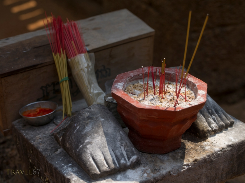 Offerings of incense. Banteay Samre Temple, Siem Reap, Cambodia