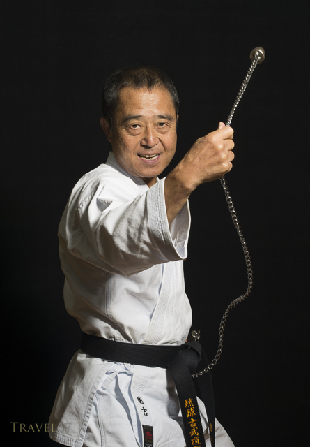 Yukio Kuniyoshi. Kaicho of Ryukyu Kobudo Hozon Shinko Kai. Training on Okinawa, Japan with suruchin ( ball and chain ).