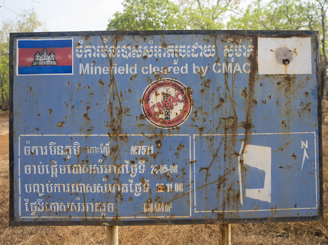 Minefield cleared sign at Prasat Neang Khmau part of Koh Ker