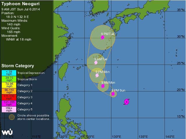 Typhoon Neoguri Approaches
