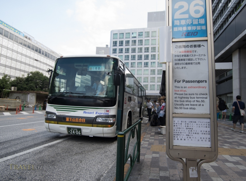 Bus from Shinjuku Station to Fuji Subaru Line 5th Station