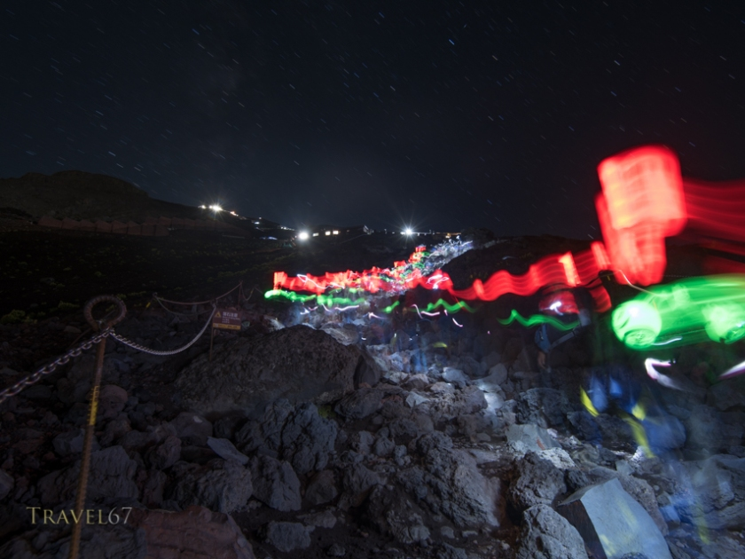 Lights of hikers on Fuji Subaru Line ( Yoshida Trail ) Night climb