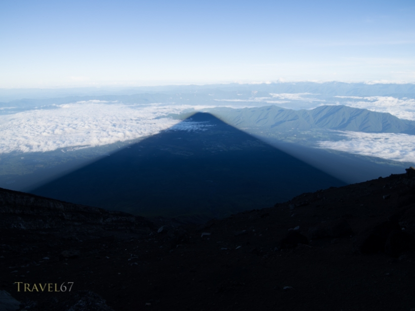 View of Fuji's shadow from the summit of Mt Fuji 5.50AM