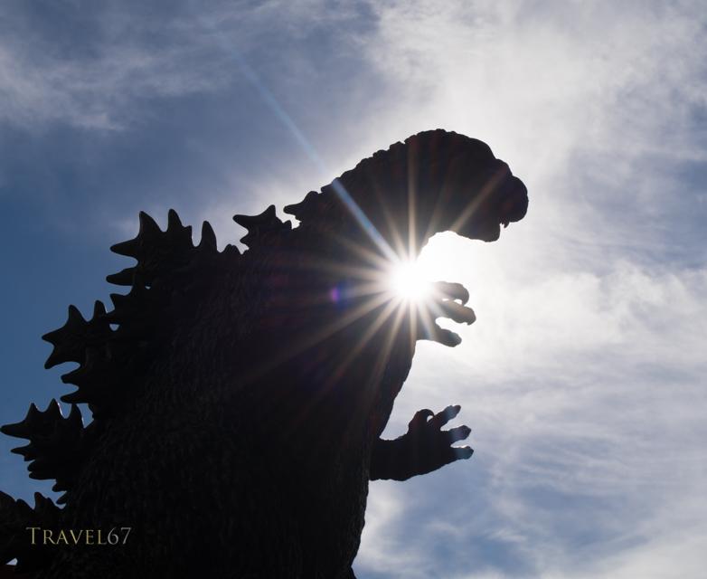 Godzilla Statue beside the Toho Hibiya Building, Tokyo, Japan.