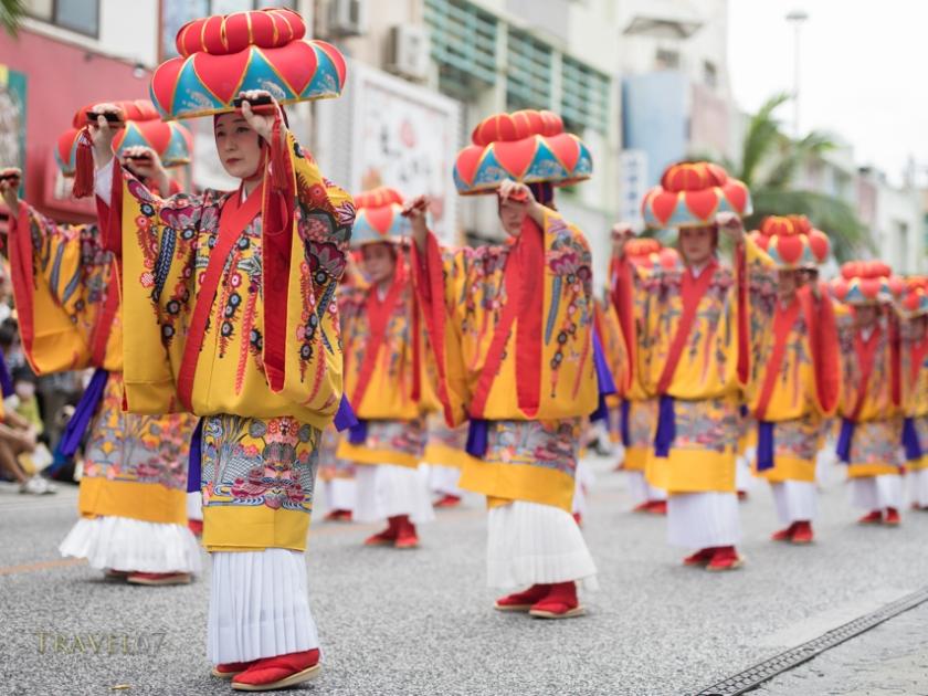 Yotsudake Dancer, Ryukyu Dynasty Parade, Kokusai Street.