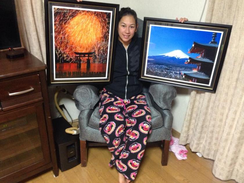 Michelle with prints for her home in Iwakuni.