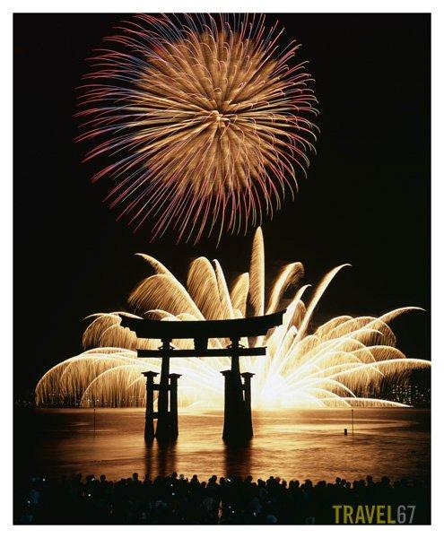 Itsukushima Fireworks Festival near Hiroshima