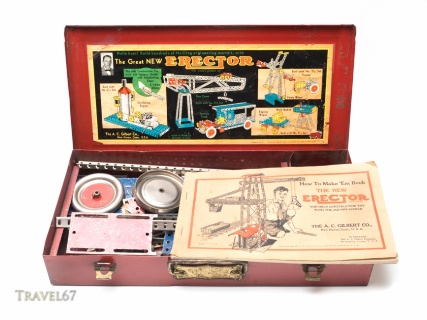 Erector Set, metal construction toy, by Alfred Carlton Gilbert