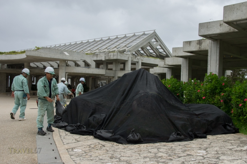 Staff at the Churaumi Aquarium protect flower arrangements. Typhoon Chan-hom brings strong wind and rain to the islands of Okinawa, Japan  9 July 2015
