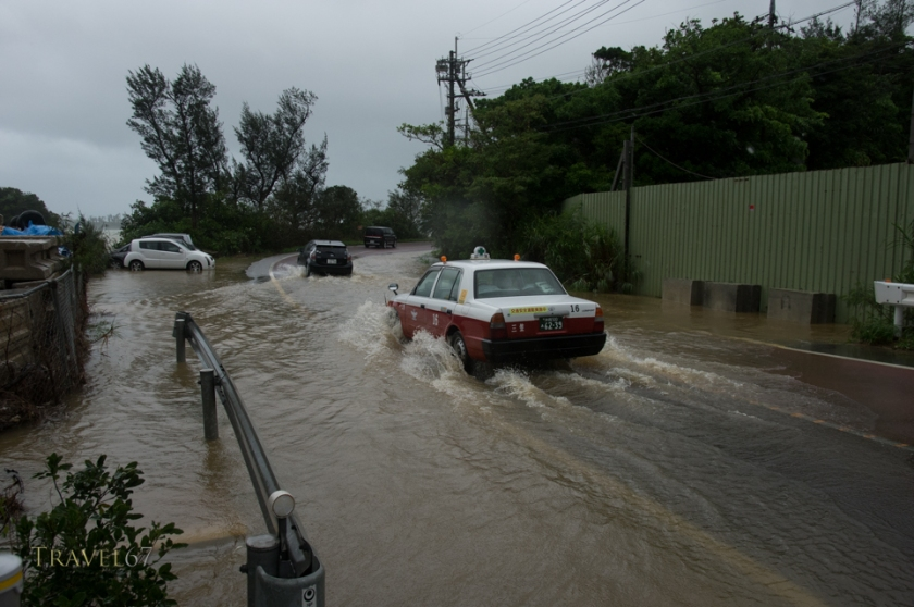 Coast roads in Nakijin Town, Okinawa, flood due to heavy rains from Typhoon Chan-hom. 10 July 2015