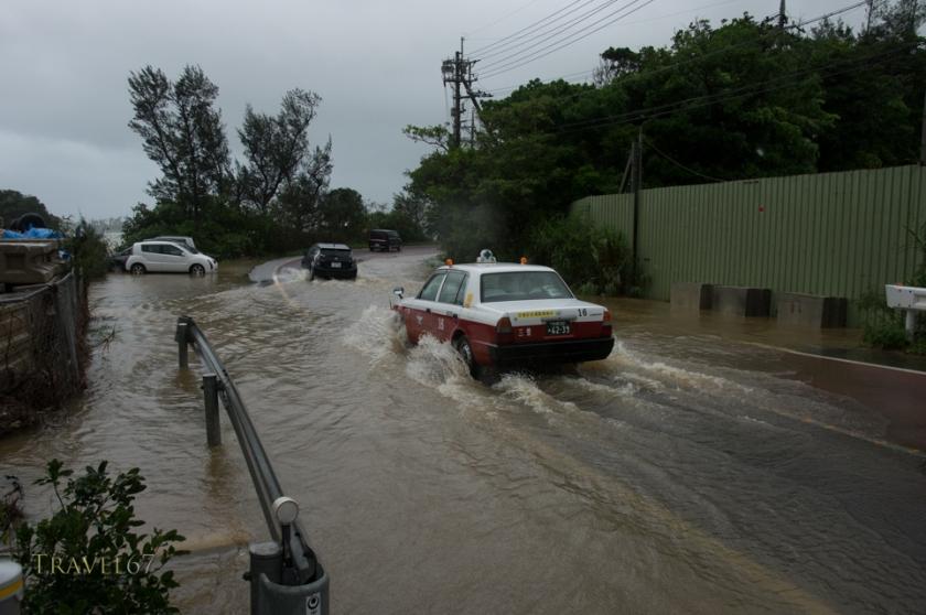 Coast roads in Nakijin Town, Okinawa, flood due to heavy rains from Typhoon Chan-hom. 10 July 2015