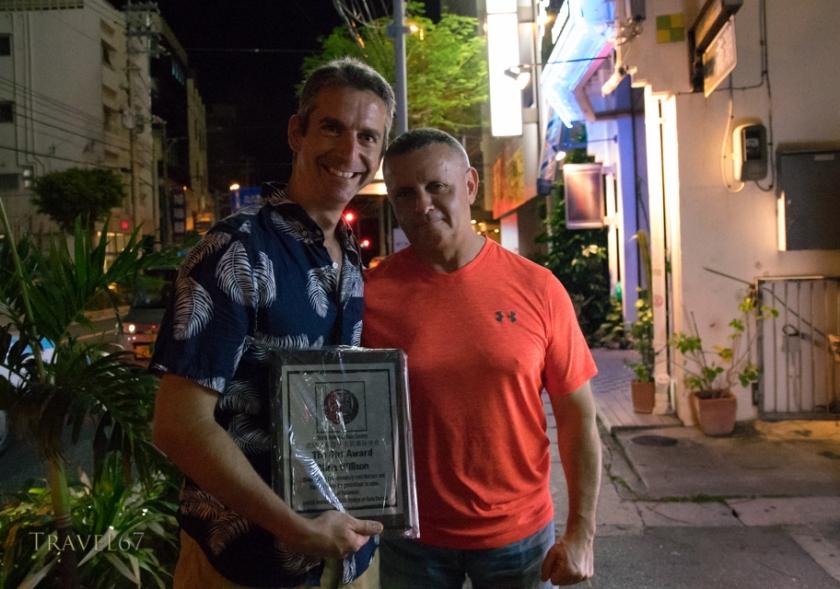 With Cezar Borkowski Sensei at the Dojo Bar, Naha