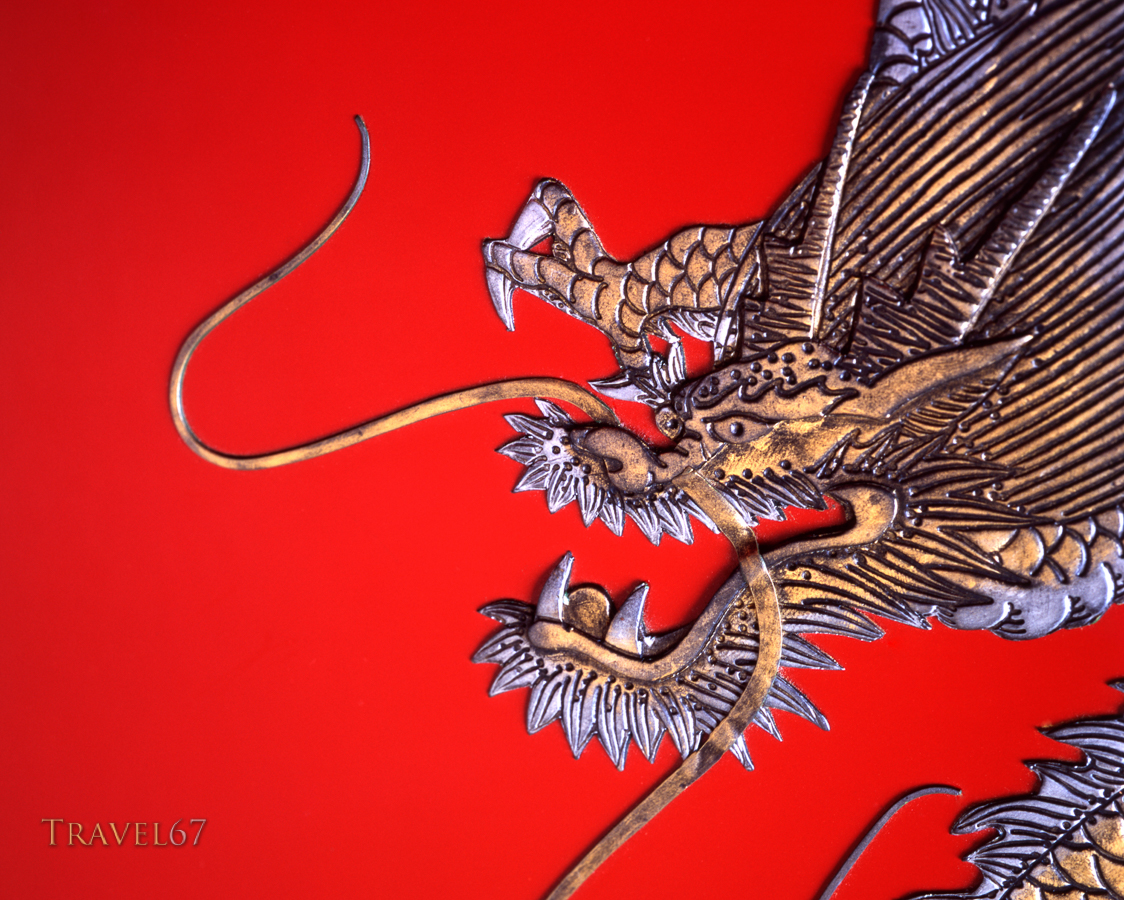 Shiki - Ryukyu Laquerware with dragon motif, on sale on Kokusai Street, Naha City, Okinawa