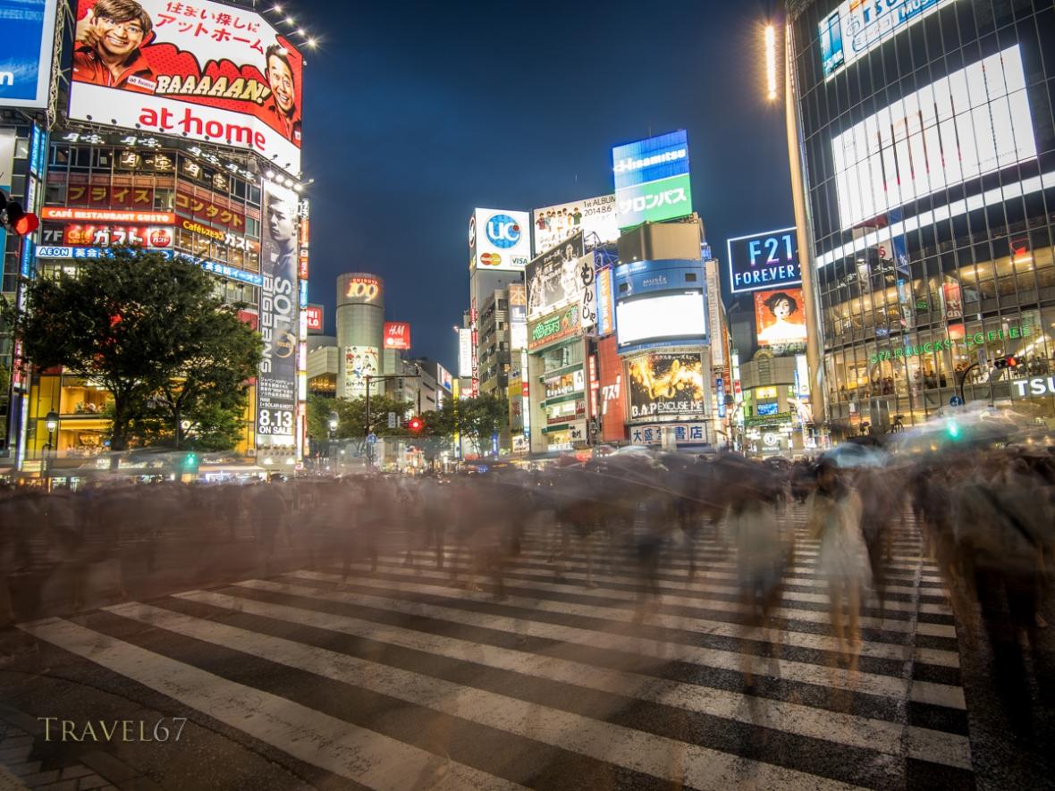 Hachiko Scramble Pedestrian Crossing, Shibuya, Tokyo, Japan. Busiest pedestrian crossing in the world.