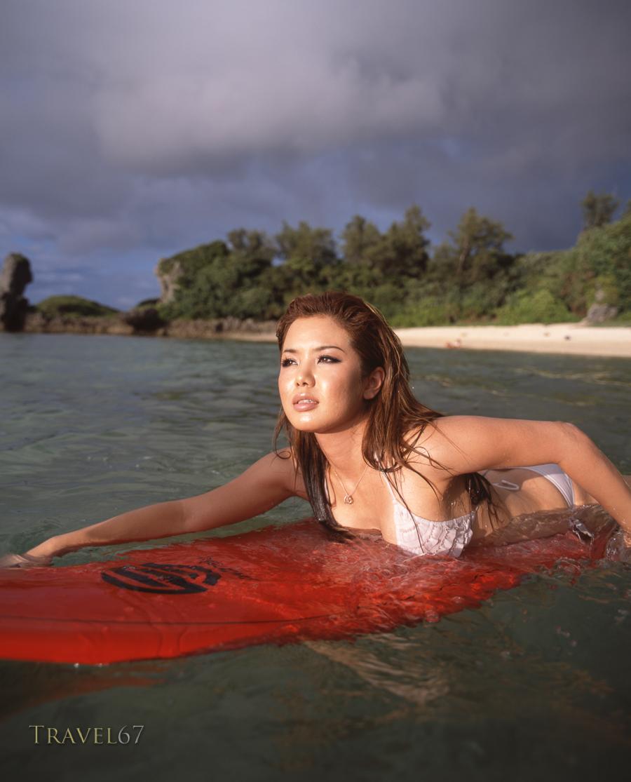 Surfing at Maeda in Yomitan