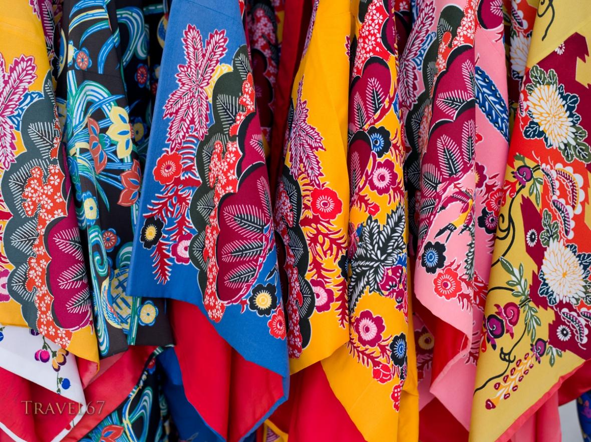 traditional Bingata Kimono at Shuri Castle, Okinawa, Japan