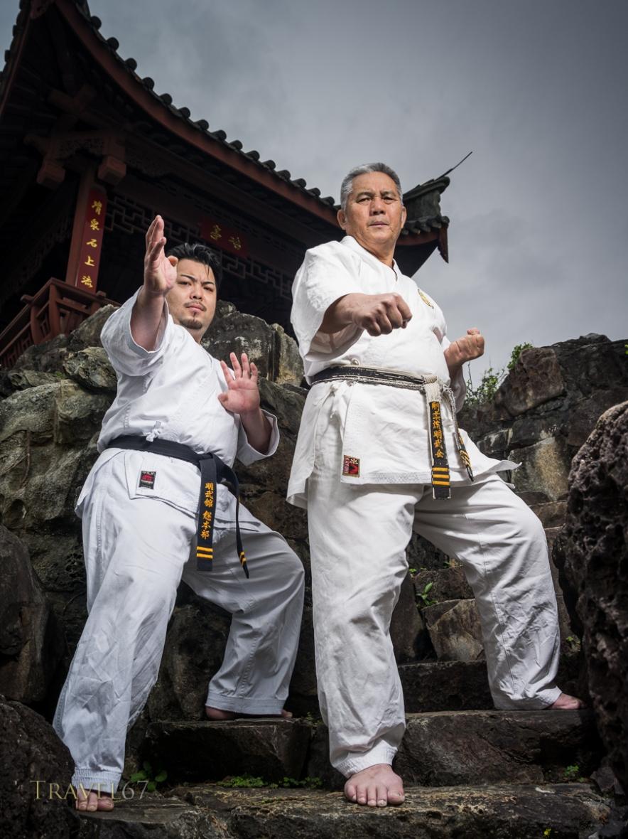 Meitetsu Yagi and son Ippei Yagi of Meibukan Karate at Fukushu En, Naha, Okinawa, Japan