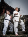 Meitetsu Yagi and son Ippei Yagi of Meibukan Karate at Fukushu En, Naha, Okinawa, Japan