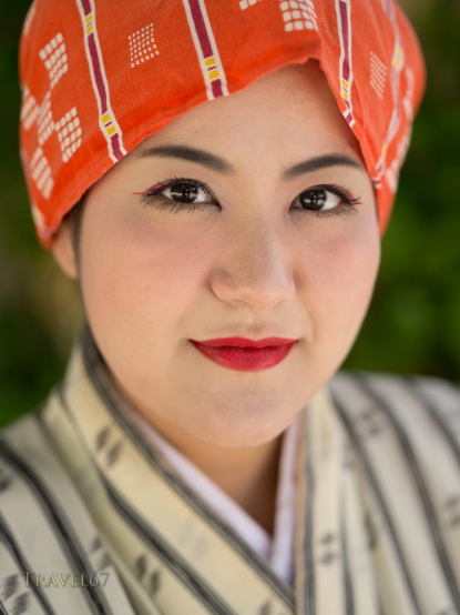 Okinawan woman in traditional dress.