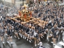 Fukagawa Fetival aka water throwing festival held at Tomioka Hachimangu Shrine, Tokyo, Japan on Sunday Aug 17, 2014. Water thrown at mikoshi (portable shirines) carried through streets in one of the great Shinto festivals of Tokyo.