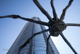Maman (1999) i bronze, stainless steel, and marble sculpture of spider by the artist Louise Bourgeois at the base of Mori Tower. Roppongi, Tokyo