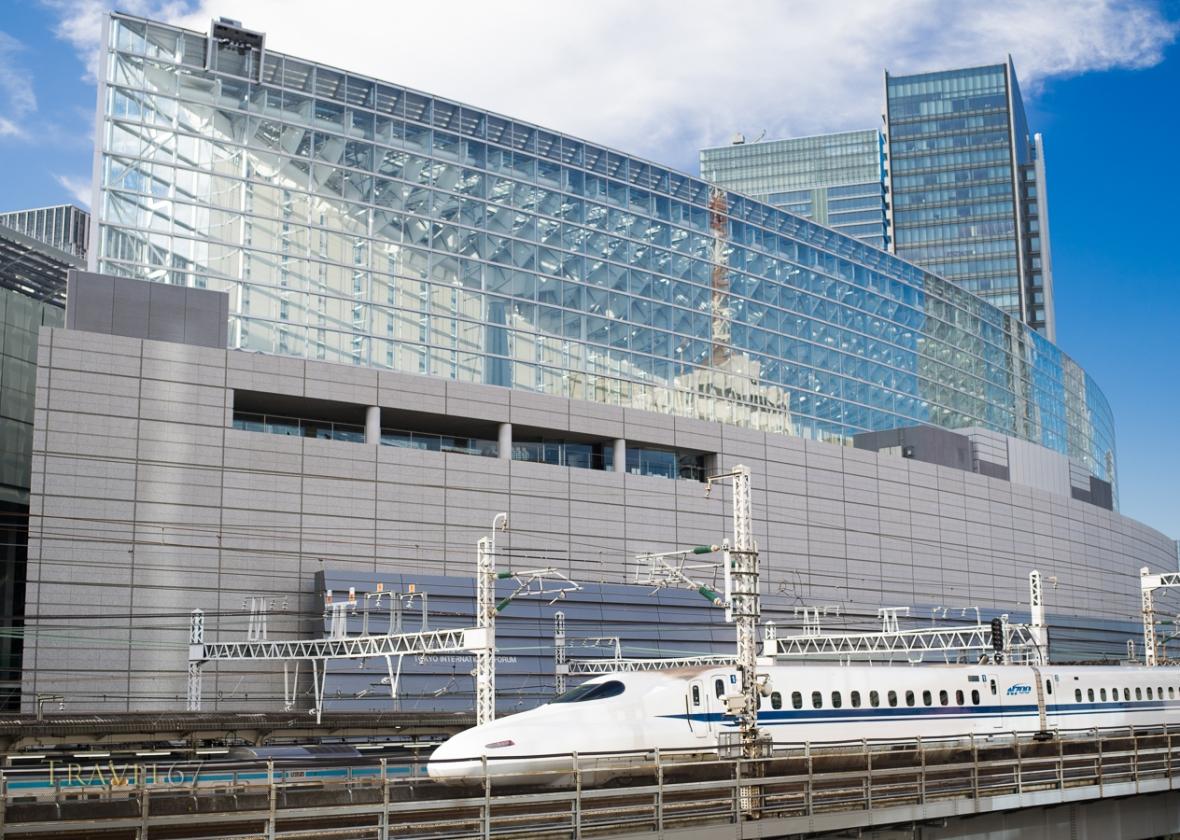 Shinkansen Bullet train and Tokyo Forum Building
