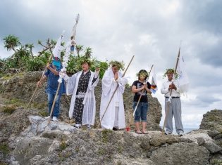 Toguchi Ayako (79) leads prayers at Unjami Festival on Kouri Island, Okinawa