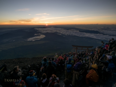 The climbing season for Mt. Fuji runs July 1 to September 14. Thousands climb the trail at night to see the dawn from the summit.