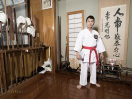 Naonobu Ahagon, Hanshi 10th Dan, Okinawa Karate & Kobudo Shorinryu at his dojo in Naha City, Okinawa.