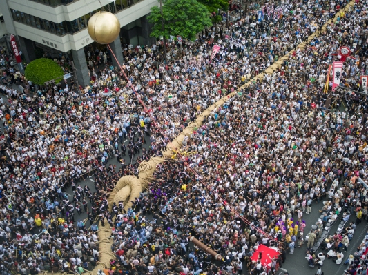 World's largest tug of war. Held on route 58, close by Kokusai Street