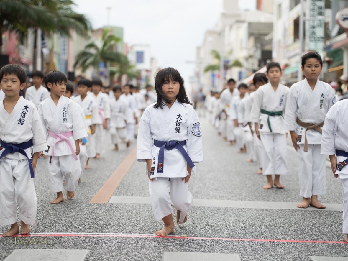 Karate Students part of the Ryukyu Dynasty's procession at Kokusai Street