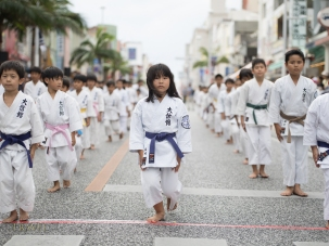Karate Students part of the Ryukyu Dynasty's procession at Kokusai Street