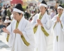 Yuta (priestesses) offering prayers during the Shuri Castle Festival.