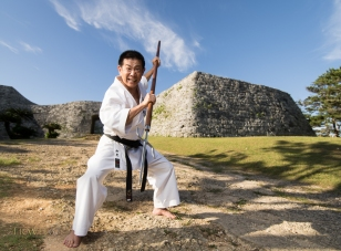 Katsuyoshi Chibana 7th-dan Okinawa Shorin-ryu Karate-Do  Myobu-kan Yomitan at Zakimi Castle, Okinawa, Japan