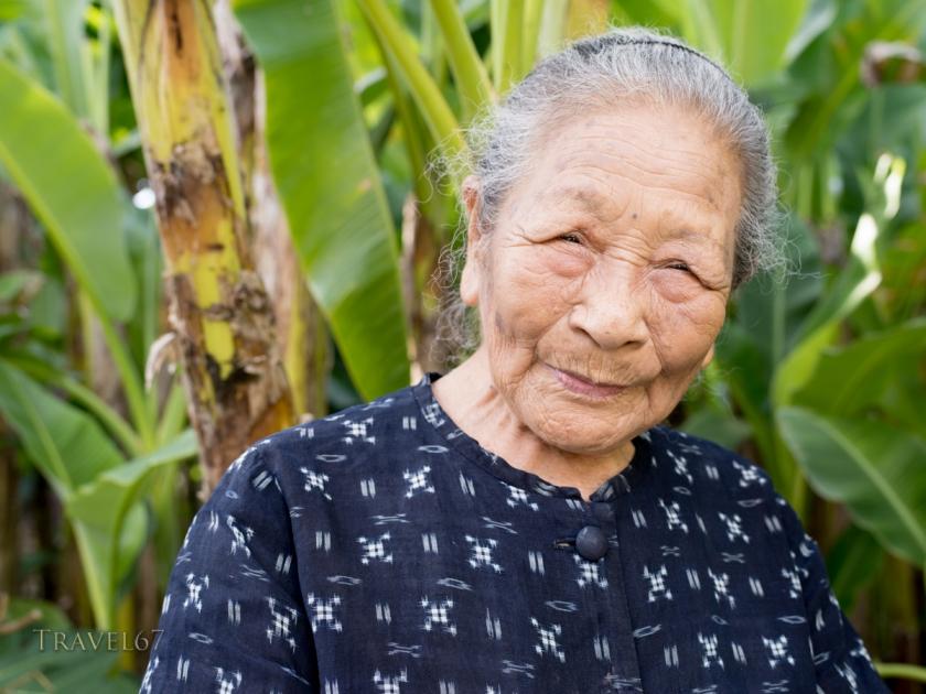 Toshiko Taira age 96 Japanese Living National Treasure, Ogimi Village Bashofu Hall, Kijoka, Ogimi, Okinawa