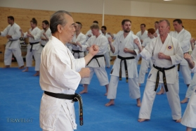 Yoshio Kuba teaching at Karate Kaikan, Okinawa, Japan.